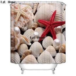 $enCountryForm.capitalKeyWord Australia - shower waterproof LzL Home High Quality 3D Starfish Shower Waterproof Mildewproof Bathroom Curtain Bath Decor With Hooks Marriage Gifts