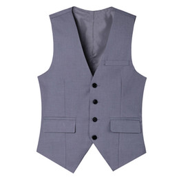 China Pure cot high-quality goods High-end wedding dress and groom pure color suit vest Men Light Grey slim business suits vest Male cheap pure purple wedding dresses suppliers
