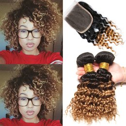 ombre closure 1b 27 2019 - 1B 4 27 Deep Wave Ombre Human Hair Bundles With Lace Closure 3 Tone Colored Blonde Brazilian Virgin Curly Ombre Weaves W