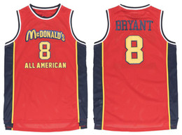 custom basketball jerseys Australia - Bryant #8 McDonald's All American Red White Retro Basketball Jersey Mens Stitched Custom Any Number Name Jerseys SIZE xxs-6xl