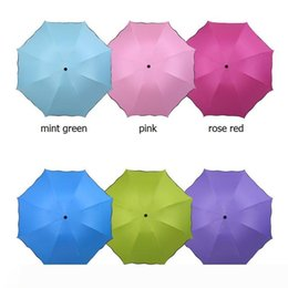 fishing black metal UK - New Creative Travel Umbrellas Blossom In Water Colorful Three Folded All Weather Umbrella With Coating W9580