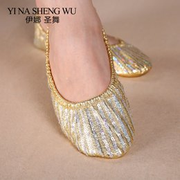 Discount flat bellies shoes Kids Belly Dance Shoes Soft Bottom Shoes Women Belly Dance Practice Dancing Accessory Striped Sequin Flat Shoe Women