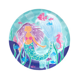 65cb12f1d74d8 Discount mermaid baby shower - 6pcs lot 7inch new lovely Mermaid Party  Supplies Disposable Paper Plates