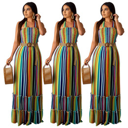 colorful summer maxi dresses Australia - 2019 women summer dress colorful stripes print halter neck sleeveless pleated maxi dress beach bohemian long dresses vestidos