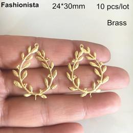 $enCountryForm.capitalKeyWord Australia - 10 pcs Wheatear Shape Charm Connectors 24*30mm Raw Brass,DIY Earrings Supplies,Brass Filigree Jewelry Findings -DGG