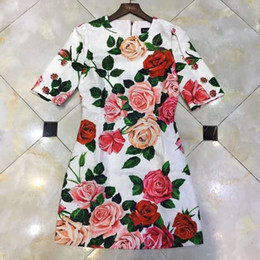 Wholesale round pattern dress resale online – New European and American women s round neck rose print pattern decoration short sleeve skirt dress in early spring