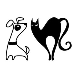 cat decals for car windows UK - 15*9.8cm Fight Cat Versus Dog - Cartoon Decal Sticker for Car Lovely Humour Car Accessories Motorcycle Helmet Car Styling