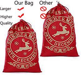 $enCountryForm.capitalKeyWord Australia - 1PCS Reusable Christmas Sacks Santa Present Bag 50x70cm Elk Organic Heavy Canvas Large Red Drawstring Gift Bag Christmas Decor