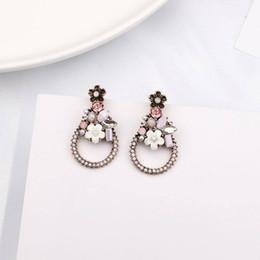 $enCountryForm.capitalKeyWord Australia - 2019 New Vintage Resin Crystal Flower Water Drop Shape Earrings For Women Fashion Bijoux Rhinestone Boucle D'oreille