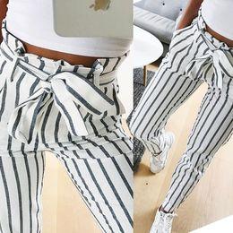 $enCountryForm.capitalKeyWord Australia - Fashion 2019 Autumn Women Casual Mid Waist Pants White Striped Bow Tie Drawstring Sweet Elastic Waist Pockets Casual Trousers