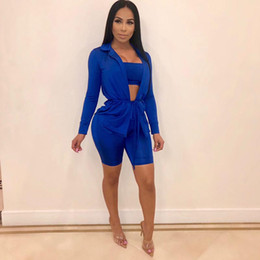 Army Green Suit Australia - Army Green 3 Piece Set Women 2019 New Spring Long Sleeve Cardigan Solid Strapless Crop Top Bodycon Shorts Suits