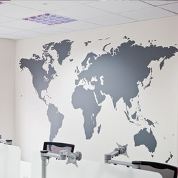 Discount world maps for wall decoration - Wholesales Black Large World Map Wall Sticker Removable Double Sided Visual Pattern Home Decoration House Wallpaper free