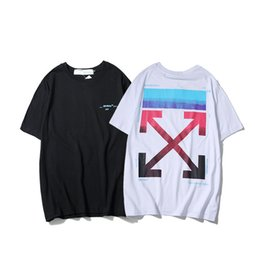 Wholesale rainbow shirts for sale – custom Rainbow Limit Gradual Change Rendering Tide Card Arrow Printing Easy Lovers Paragraph Short Sleeve Men And Women T T shirt Pure Cotton TEE