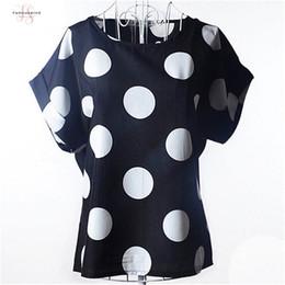 Ingrosso Big Dot camicetta estiva breve Maglia a manica in chiffon camicetta camice casuali sottili Donna Top Blusas signore solidi poco costoso della Cina