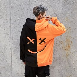 Black Block Clothing Australia - Hoodies Sweatshirts Men Color Block Black White Patchwork Smile Print Male Hoodie Hip Hop Streetwear Men Clothes 2018 for Women