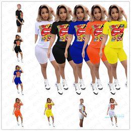 Wholesale custom t shirt design printing online – design 2020 Women Shorts Sets Summer Design Tracksuit Cartoon Lips Letters Print T Shirt Biker Shorts Suit trendy Sportswear Outfit D5705