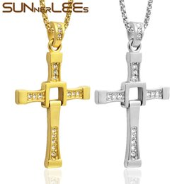 Cross Chain fast furious online shopping - SUNNERLEES Stainless Steel Jesus Christs Cross Pendant Necklace Link Chain Gold Silver Color For Men Fast and Furious Movie SP54