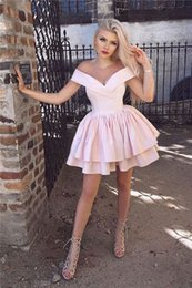 $enCountryForm.capitalKeyWord Australia - 2020 Cheap Homecoming Dresses Party Dresses Off The Shoulder Sexy Baby Pink Girl Prom Dress Short Graduation Dresses