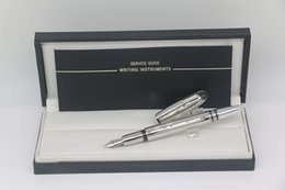 mb metal Australia - High quality luxury Classi Design Metal silver grid body MB Fountain pen with series number school&office stationery writing pen