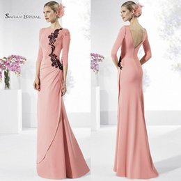 Petite Wedding Gown Pink Australia - Modest Lace Appliqued Mother of the Bride Dresses Long Sleeves Backless Wedding Guest Dress Floor Length Formal Gowns
