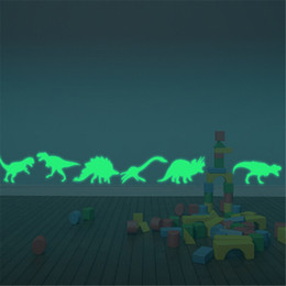 $enCountryForm.capitalKeyWord Australia - 9PCS Luminous Home Decor Decal Baby Kids Room Fluorescent Stickers Dinosaur Glow In The Dark Wall Stickers