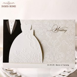Wholesale customizable clothes for sale - Group buy 100pcs HOT western style Groom Bride Clothes Customizable Printable Wedding Invitations Cards BH2046
