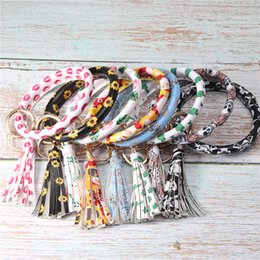 Santa wriStbandS online shopping - Free DHL Leather Wrap Bracelets Key Ring Sunflower Santa Claus Skull Lip Print Bracelet Wristband Keychain Christmas Party Gift M800F