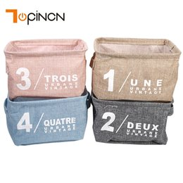 $enCountryForm.capitalKeyWord NZ - Cotton Linen Desk Organizer Classic Basket Underwear Makeup Storage Cabinet Printing Container Organizer Case Multi Storage Box