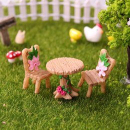 garden tables chairs Australia - 3 Pc set Micro Landscape Ornament Ornaments for Miniatures Fairy Garden Mini Table and Chairs Bonsai Landscaping Decoration
