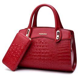 2825df99f376 good quality 2 Pcs set Leather Handbag Women Bags Designer Alligator  Crocodile Pattern Embossed Shoulder Bag Female Tote Bag Wallet Sac