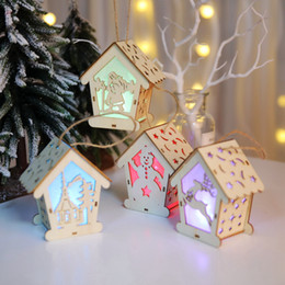 crafts for house decorations NZ - Wooden House Christmas Tree Ornaments DIY Gift Christmas Decoration Luminous Wood Crafts Kids Gift for Home Party