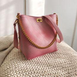 Big Chains Australia - Pu Leather Shoulder Bags For Women 2018 Luxury Handbags Women Bag Designer Big Tote Lattice Bucket Chain Tote Bag Bolsa Feminina