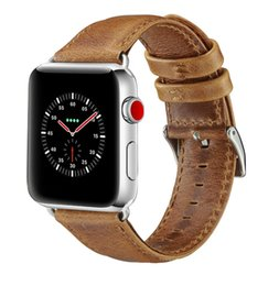 Smart Watches For Iphone Australia - Delicate Calf Genuine Leather Bracelet Wrist Strap for iWatch iPhone Apple Smart Watch Band Case Metal Adapters Series 1-4 Free Shipping