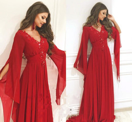 arabic red evening dress Australia - Saudi Arabic Chiffon A Line Prom Dresses Sexy V-neck Long Sleeves Kaftan Dubai Red Applique Lace Beaded Evening Dress Special Occasion Wear