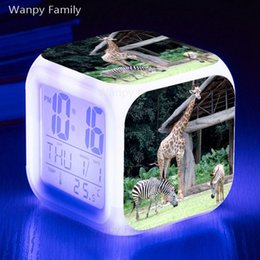 Wholesale Zebra Giraffe Alarm Clock LED Big Screen Color Changing Glowing Digital Alarm Clock Kids Birthday Gift Electronic Watches