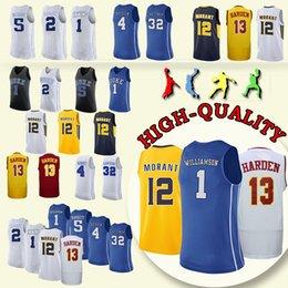 0b54047c7c6 NCAA Duke Blue Devils College jersey 1 Zion Williamson 12 Ja Morant 13  James Harden Reddish Barrett College Basketball Wears