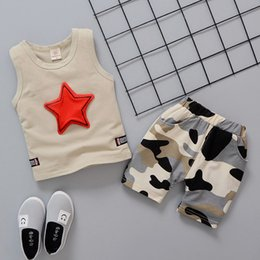 Stars Vest Australia - Fashion Boys kids clothes Set Girls children clothing 3 colors Stars Vest +Camouflage Shorts 2PCS Sets Kids Designer Clothes JY326