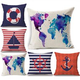 $enCountryForm.capitalKeyWord Australia - World Map Watercolor Painting Cushion Covers Voyage Ocean Sailing Boat Linen Pillow Case 45X45cm Bedroom Sofa Decoration