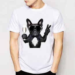 $enCountryForm.capitalKeyWord Australia - Hip hop style Men's T-Shirt Dogs like Wine T-Shirt soft fabric casual Tees fashion man Tops funny French Bulldog design T