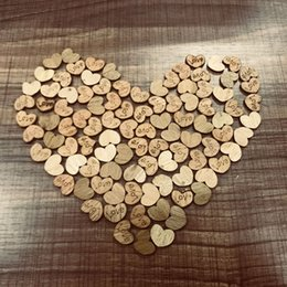 Wood Heart Decoration Australia - 100pcs pack Wedding Decoration Rustic Wood Wooden Love Heart Shape Table Scatter Decoration DIY Craft Accessories Party Supplies