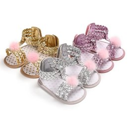 BaBy infant girl summer sandals online shopping - Baby Girl Fur Ball Sequin Sandals Toddler Summer Roman Sandals Styles Colors Infant Soft Sole Crib Shoes