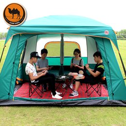 outdoors double layer camping tents NZ - Ultralarge 6-12 Person Double Layer Two Bedroom Camping Tent Outdoor Tenda Large Gazebo Party Tent