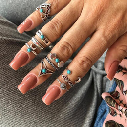 turquoise jewelry set flower NZ - 2019 10pcs Set Vintage Antique Silver Flower Moon Crown Letter Finger Midi Knuckle Rings Set for Women Bohemia Jewelry Accessories Punk Ring