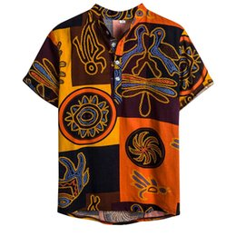 sports blouse NZ - Summer Men Hawaiian Print Short Blouse Sports Beach Quick Dry Blouse Top Turn-down Collar Short Casual Shirts Daily Tops