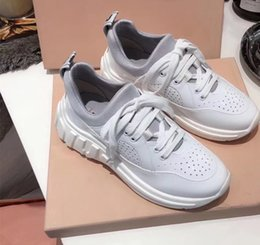 3e52abfd402 2019 fashion luxury Wedges white dad shoes miu brand women sneakers  designer casual leather shoes Runner Trainers Sport Shoes