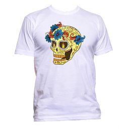 $enCountryForm.capitalKeyWord Australia - Sugar Skull Yellow With Flower And Candle T-Shirt Mens Womens Unisex Fashion Fun Size Discout Hot New Tshirt Top Free Shipping T-shirt