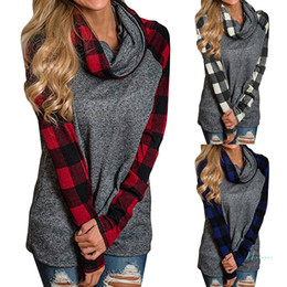 Wholesale heap t shirts for sale – custom 5XL Women Plaid Panel Raglan T shirts Long Sleeve Pullover T shirt Fashion Plus Size Heaps Collar Sweatshirt Spring Autumn Shirt Tops