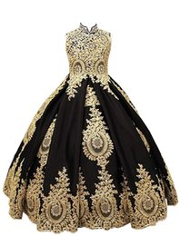 $enCountryForm.capitalKeyWord UK - Gold Lace Girls Pageant Dress 2020 High Neck Prom Ball Gowns fo Kids Flower Girls Dresses for Wedding Beaded First Communion Dresses