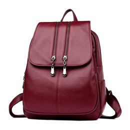 laptop style ladies bag 2019 - Leather Backpacks for Teenage Girls 2019 New Laptop Backpack Ladies Fashion Casual Backpack Satchel School Bag discount
