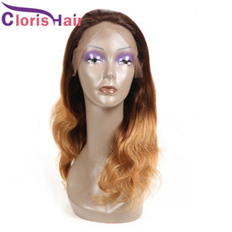 Long Colored Hair Australia - Full Density T4 27 Lace Wig For Black Women Brown Blonde Ombre Lace Front Wigs Pre Plucked Malaysian Body Wave Colored Human Hair Wig
